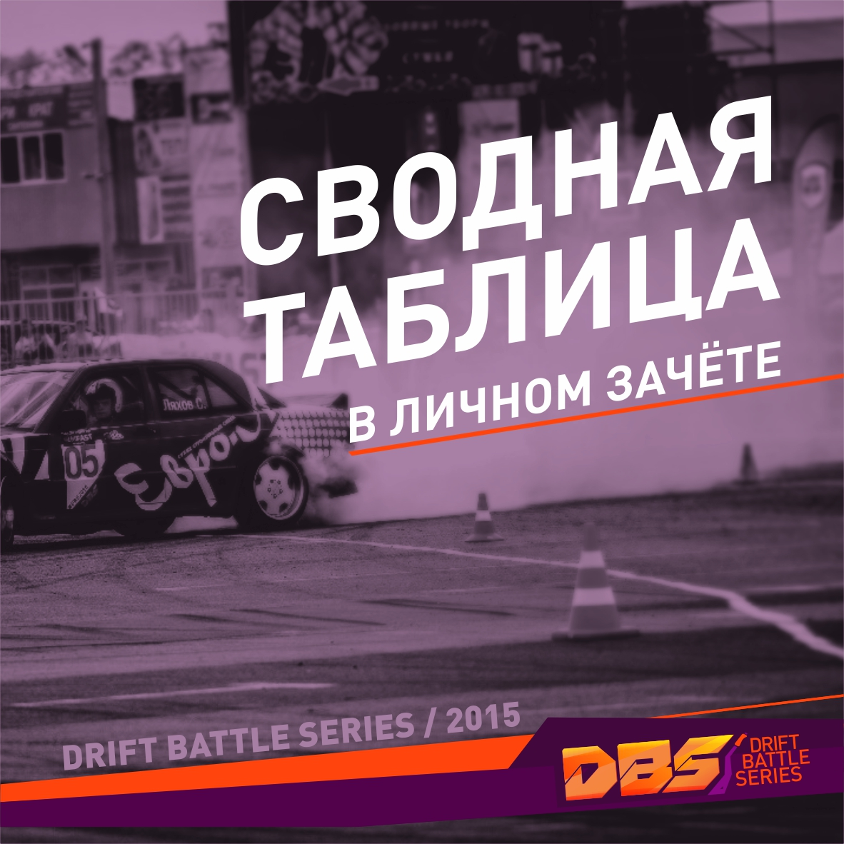 Сводная таблица в личном зачете чемпионата Drift Battle Series 2015